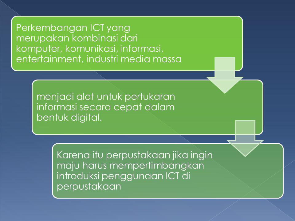 Perkembangan ICT yang merupakan kombinasi dari komputer, komunikasi, informasi, entertainment, industri media massa