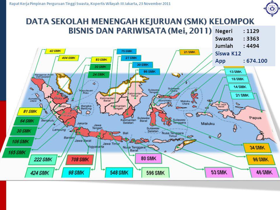 DATA SEKOLAH MENENGAH KEJURUAN (SMK) KELOMPOK BISNIS DAN PARIWISATA (Mei, 2011)
