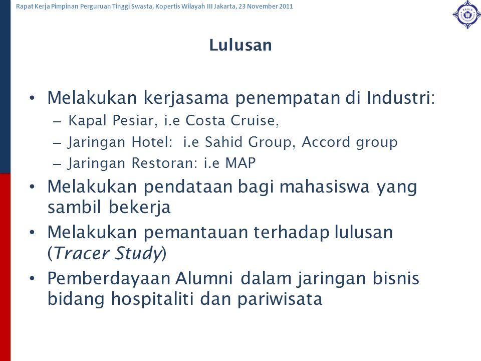 Melakukan kerjasama penempatan di Industri: