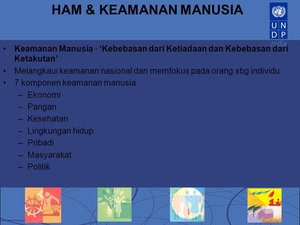 HAM & KEAMANAN MANUSIA Keamanan Manusia - 'Kebebasan dari Ketiadaan dan Kebebasan dari Ketakutan'