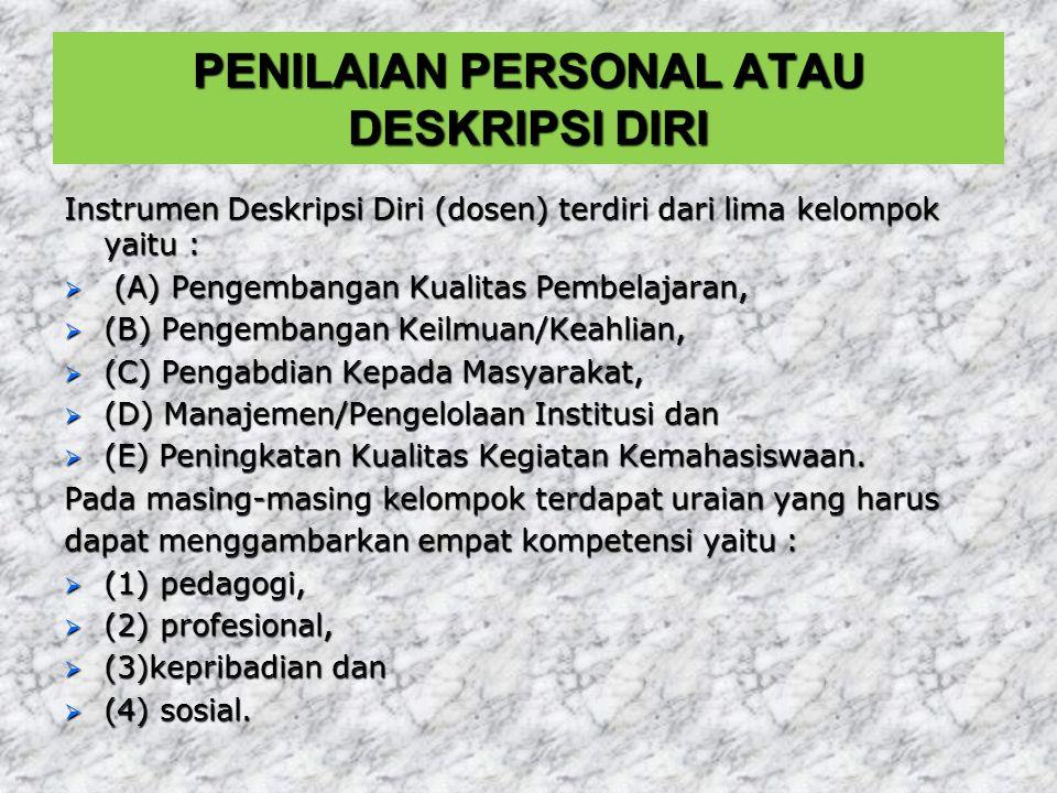 PENILAIAN PERSONAL ATAU DESKRIPSI DIRI