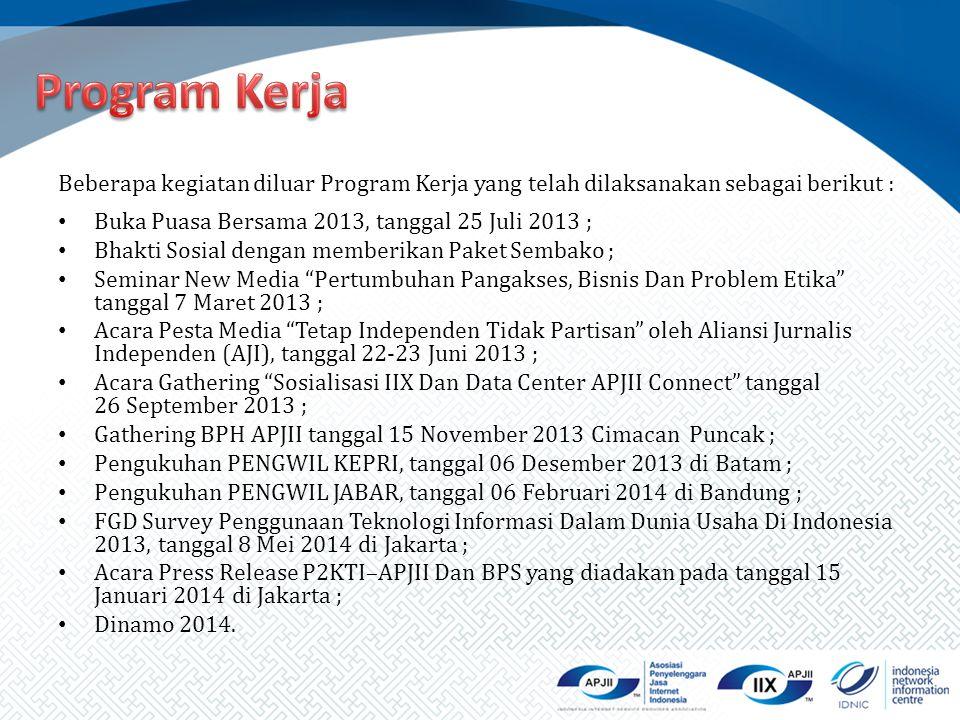 Program Kerja Beberapa kegiatan diluar Program Kerja yang telah dilaksanakan sebagai berikut : Buka Puasa Bersama 2013, tanggal 25 Juli 2013 ;