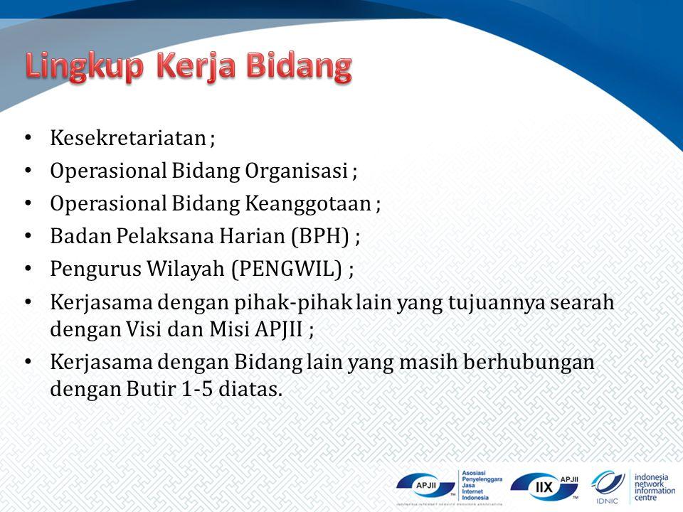 Lingkup Kerja Bidang Kesekretariatan ; Operasional Bidang Organisasi ;