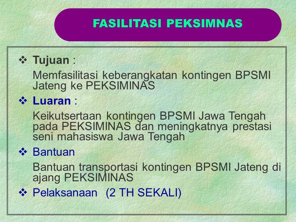 FASILITASI PEKSIMNAS Tujuan : Memfasilitasi keberangkatan kontingen BPSMI Jateng ke PEKSIMINAS. Luaran :