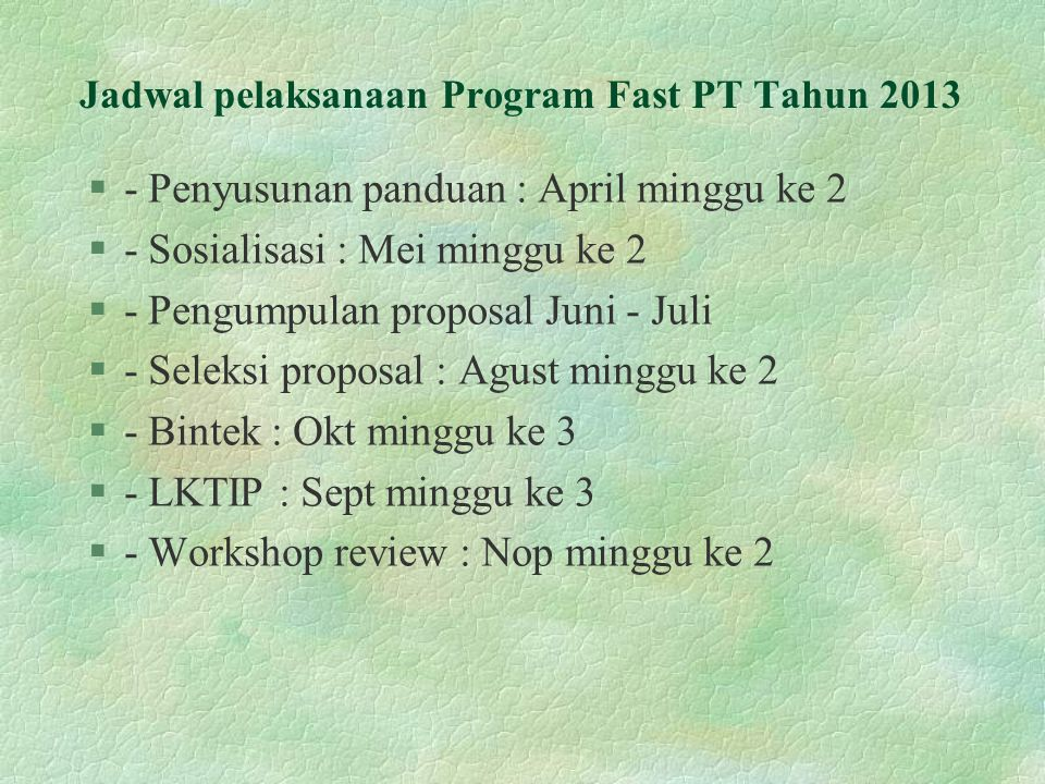 Jadwal pelaksanaan Program Fast PT Tahun 2013