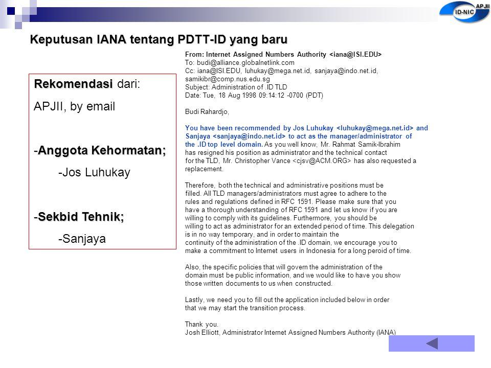 Keputusan IANA tentang PDTT-ID yang baru
