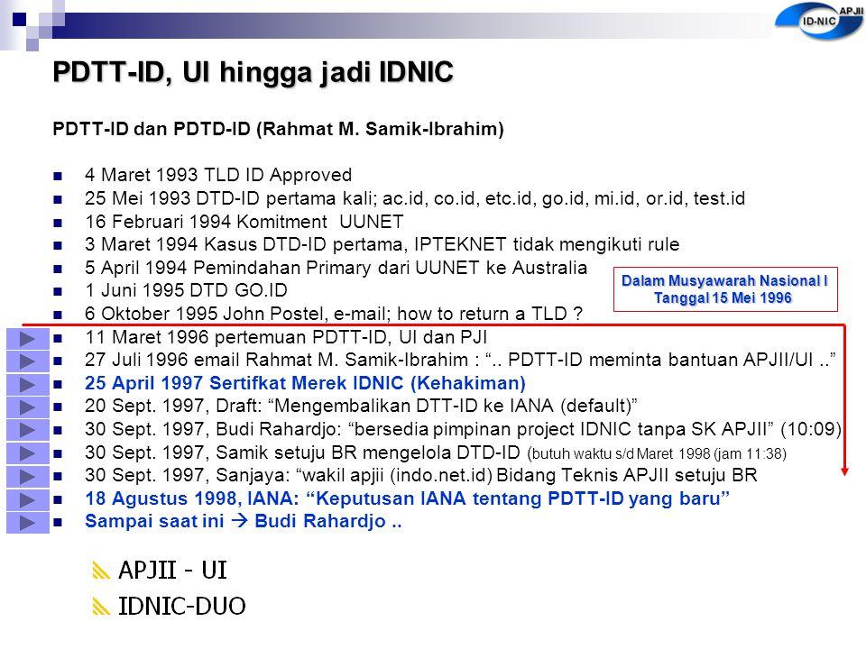 PDTT-ID, UI hingga jadi IDNIC