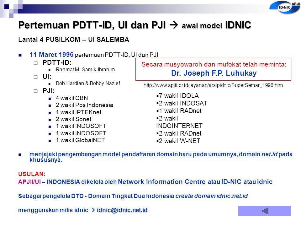 Pertemuan PDTT-ID, UI dan PJI  awal model IDNIC