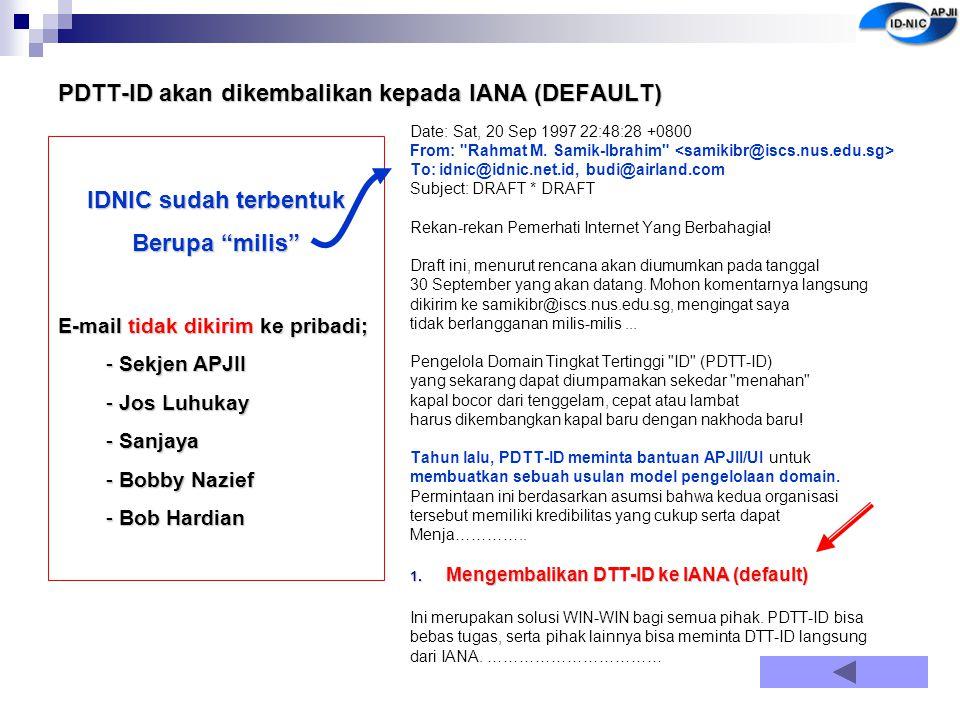 PDTT-ID akan dikembalikan kepada IANA (DEFAULT)