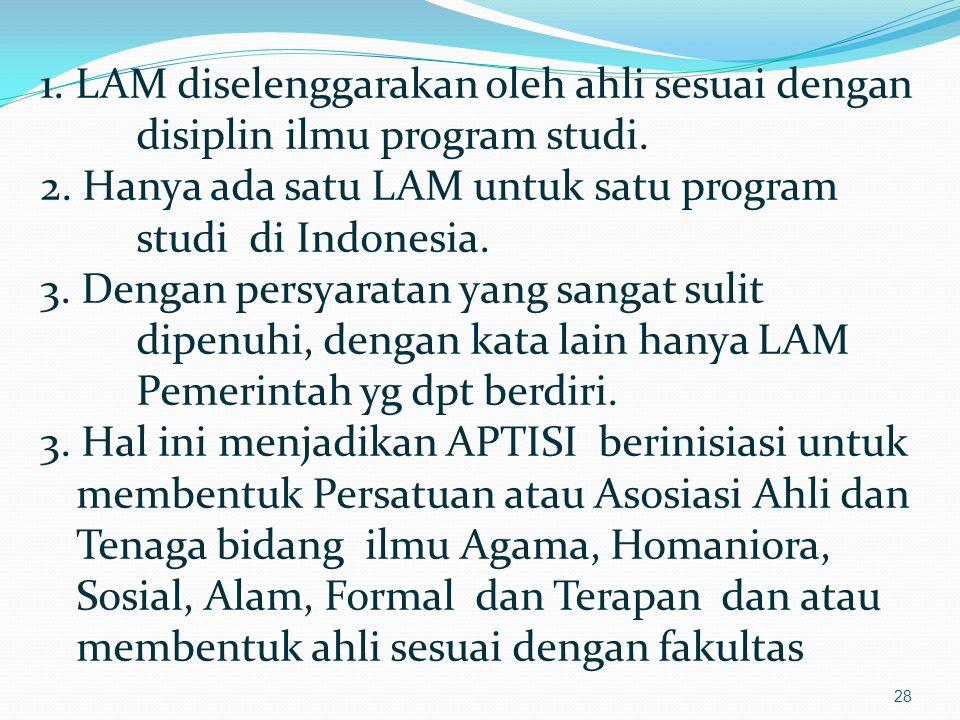1. LAM diselenggarakan oleh ahli sesuai dengan disiplin ilmu program studi.