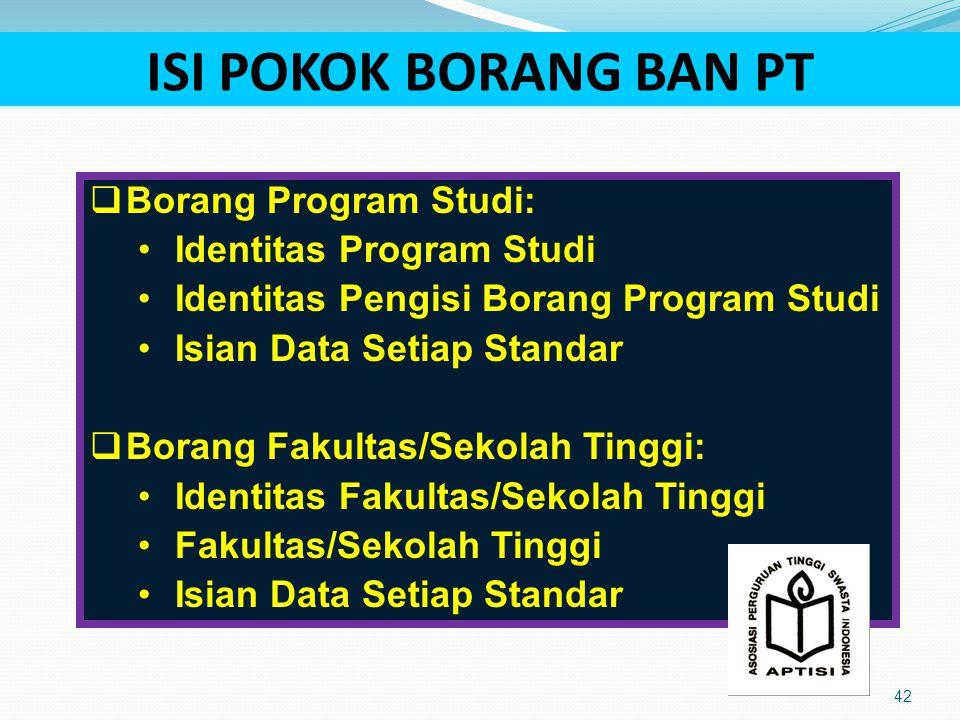 ISI POKOK BORANG BAN PT Borang Program Studi: Identitas Program Studi