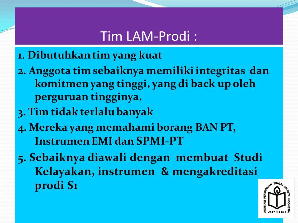 Tim LAM-Prodi : 1. Dibutuhkan tim yang kuat.