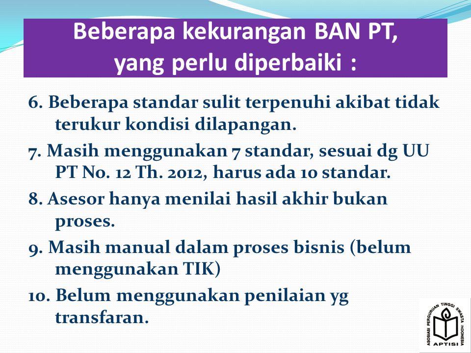 Beberapa kekurangan BAN PT, yang perlu diperbaiki :