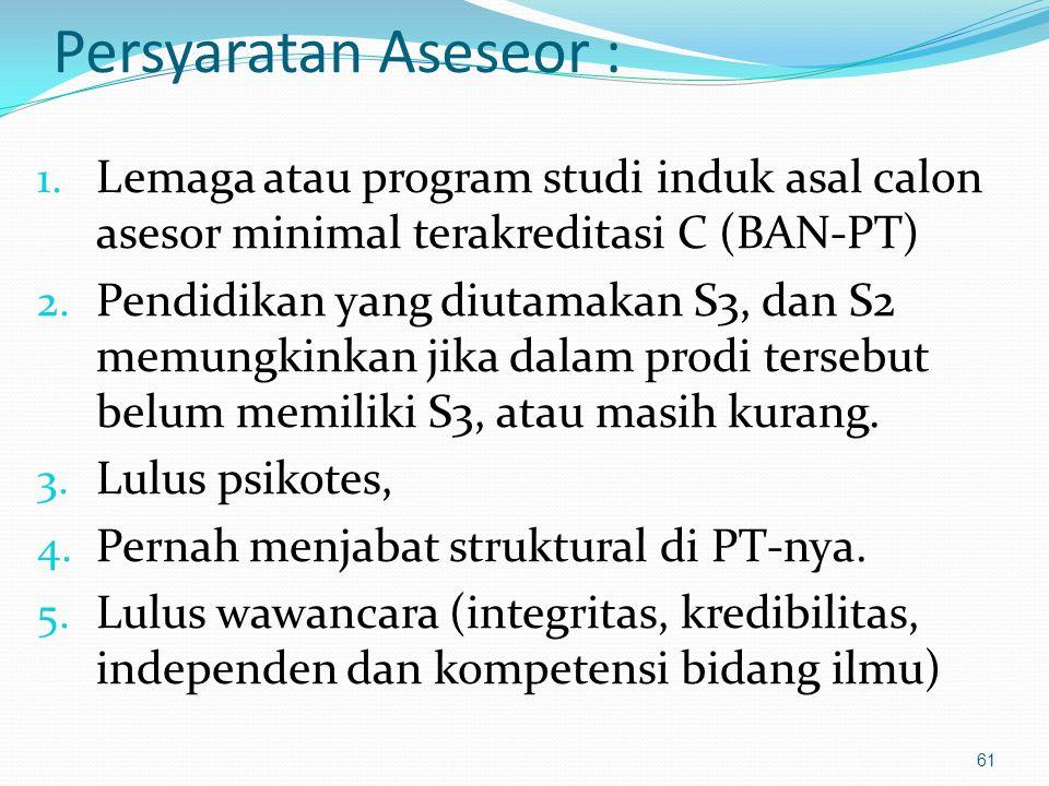 Persyaratan Aseseor : Lemaga atau program studi induk asal calon asesor minimal terakreditasi C (BAN-PT)