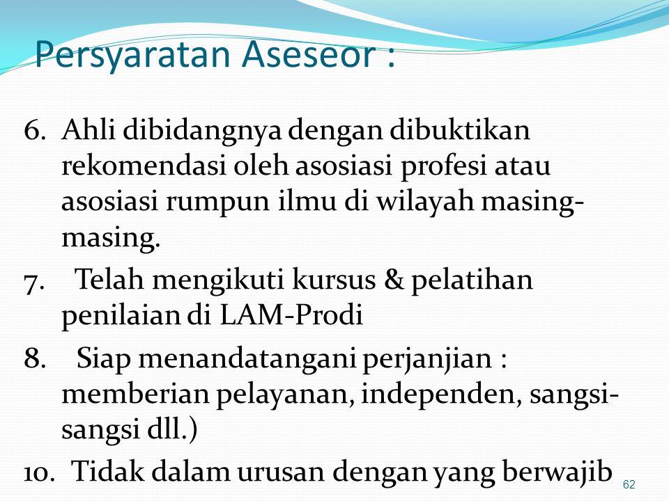 Persyaratan Aseseor : 6. Ahli dibidangnya dengan dibuktikan rekomendasi oleh asosiasi profesi atau asosiasi rumpun ilmu di wilayah masing-masing.