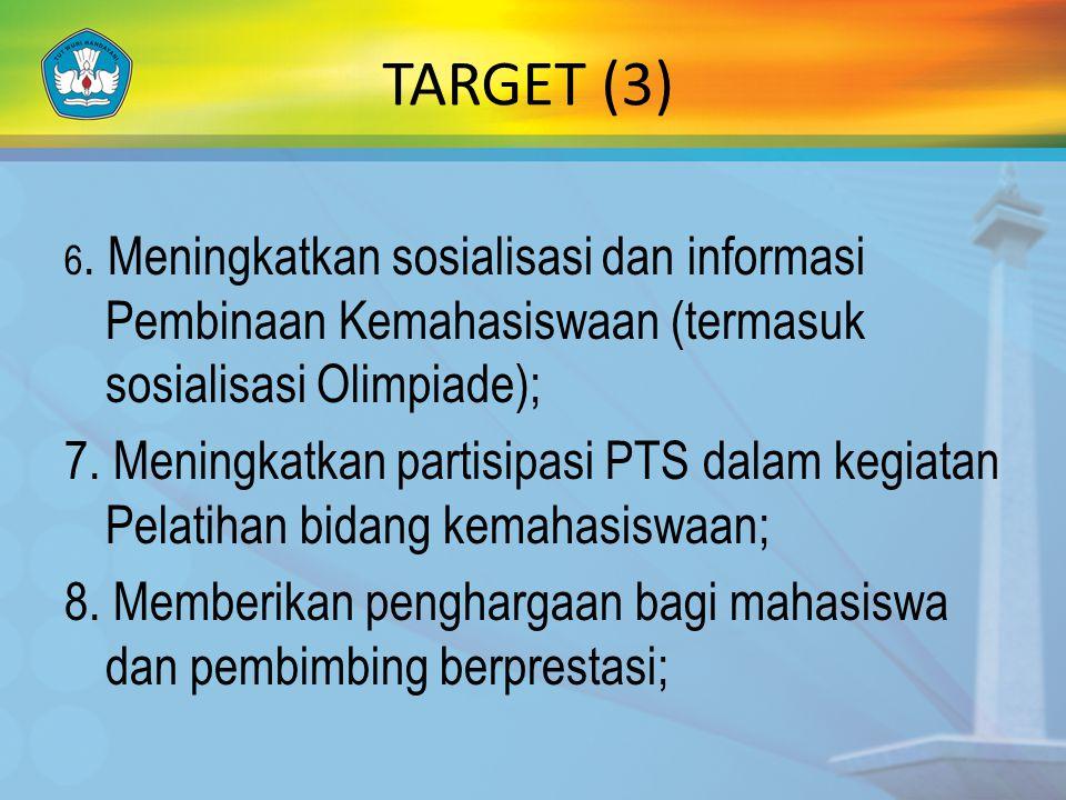 TARGET (3) 6. Meningkatkan sosialisasi dan informasi Pembinaan Kemahasiswaan (termasuk sosialisasi Olimpiade);