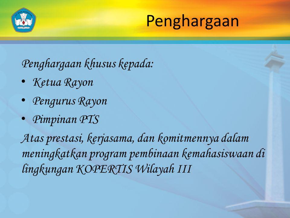 Penghargaan Penghargaan khusus kepada: Ketua Rayon Pengurus Rayon
