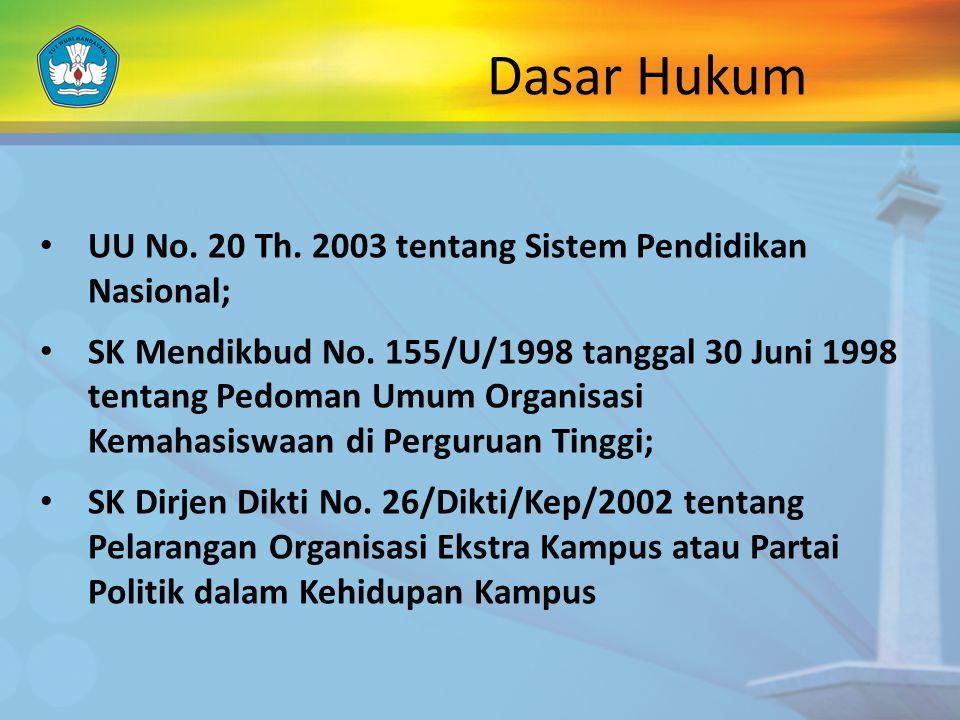 Dasar Hukum UU No. 20 Th. 2003 tentang Sistem Pendidikan Nasional;
