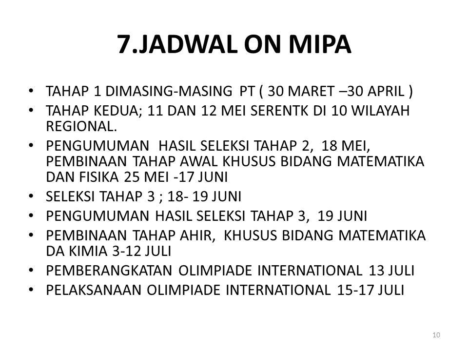 7.JADWAL ON MIPA TAHAP 1 DIMASING-MASING PT ( 30 MARET –30 APRIL )