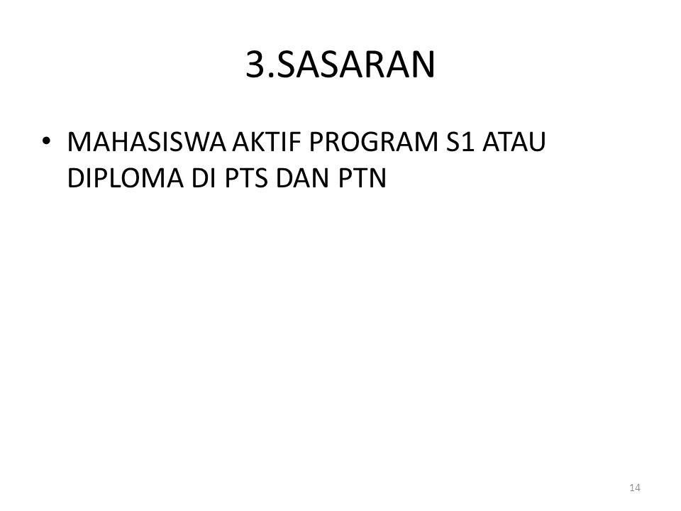 3.SASARAN MAHASISWA AKTIF PROGRAM S1 ATAU DIPLOMA DI PTS DAN PTN