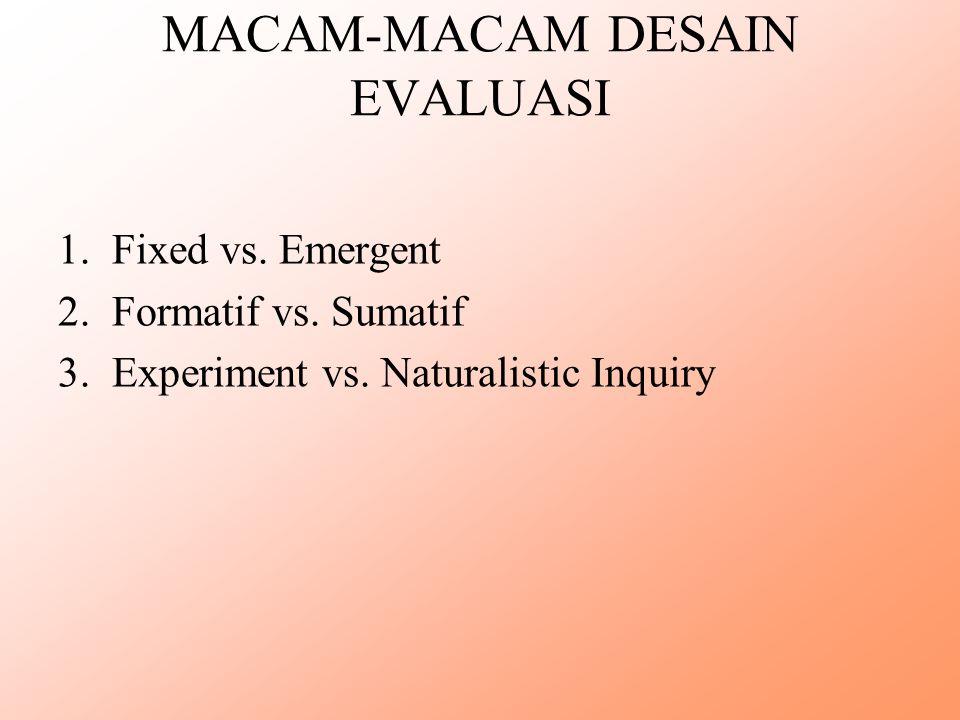 MACAM-MACAM DESAIN EVALUASI