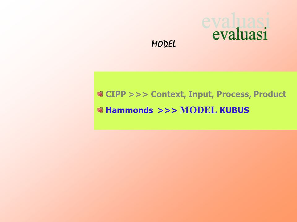 evaluasi MODEL CIPP >>> Context, Input, Process, Product