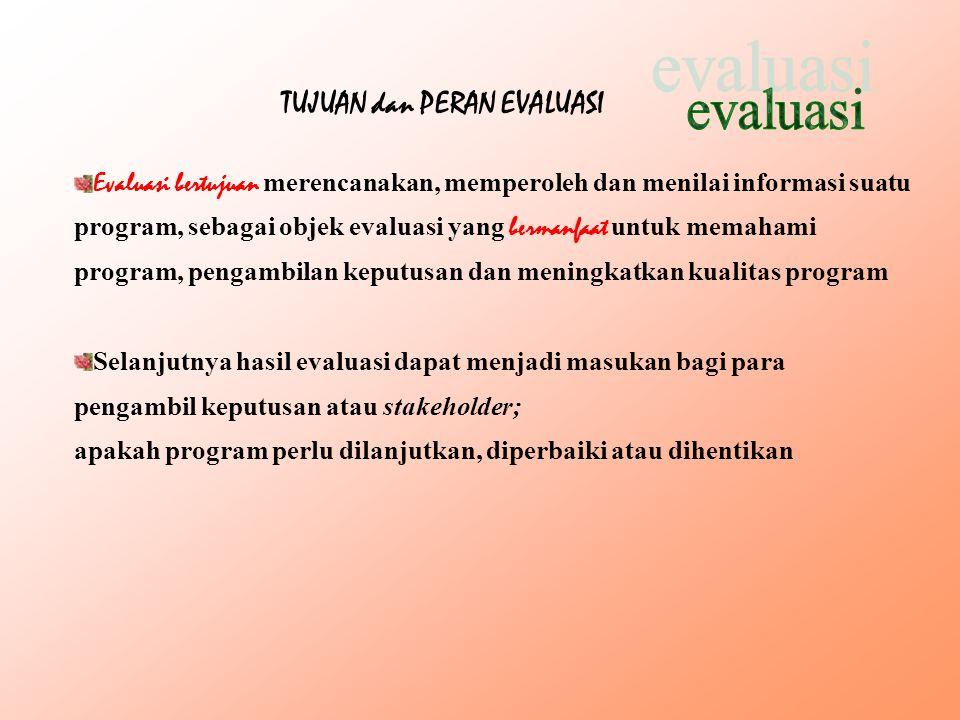 evaluasi TUJUAN dan PERAN EVALUASI