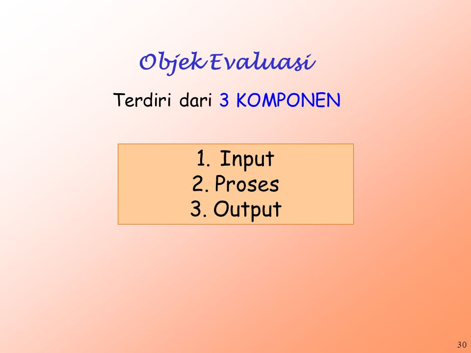 Objek Evaluasi Terdiri dari 3 KOMPONEN Input Proses Output