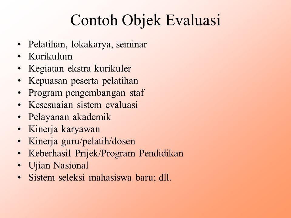 Contoh Objek Evaluasi Pelatihan, lokakarya, seminar Kurikulum