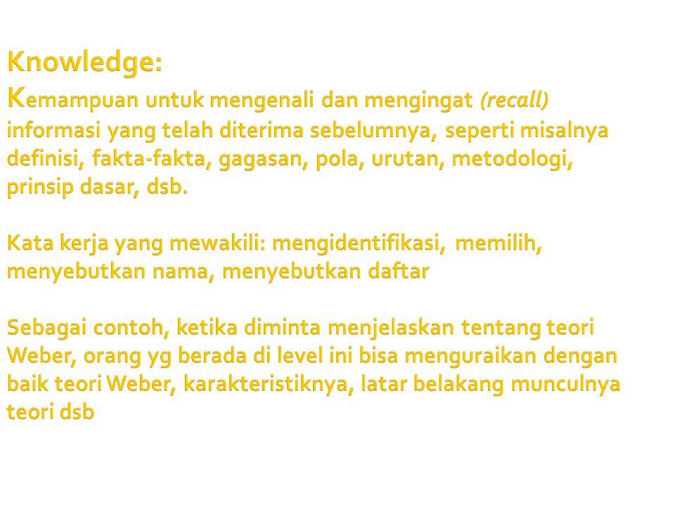 Knowledge: Kemampuan untuk mengenali dan mengingat (recall) informasi yang telah diterima sebelumnya, seperti misalnya definisi, fakta-fakta, gagasan, pola, urutan, metodologi, prinsip dasar, dsb. Kata kerja yang mewakili: mengidentifikasi, memilih, menyebutkan nama, menyebutkan daftar Sebagai contoh, ketika diminta menjelaskan tentang teori Weber, orang yg berada di level ini bisa menguraikan dengan baik teori Weber, karakteristiknya, latar belakang munculnya teori dsb