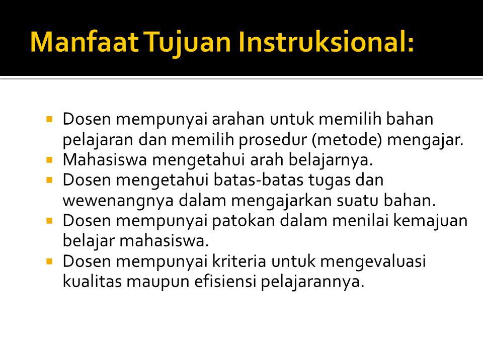 Manfaat Tujuan Instruksional: