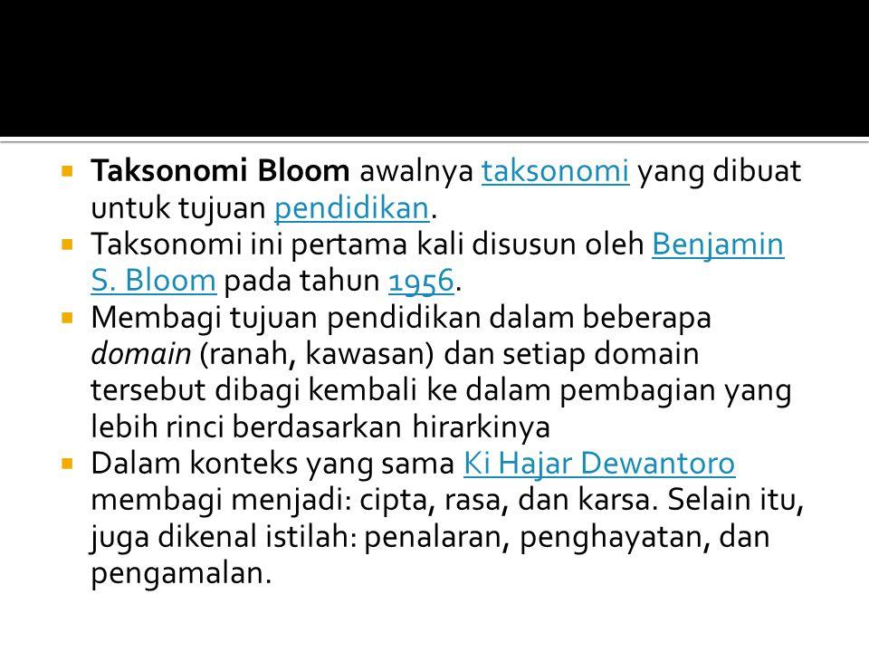 Taksonomi Bloom awalnya taksonomi yang dibuat untuk tujuan pendidikan.