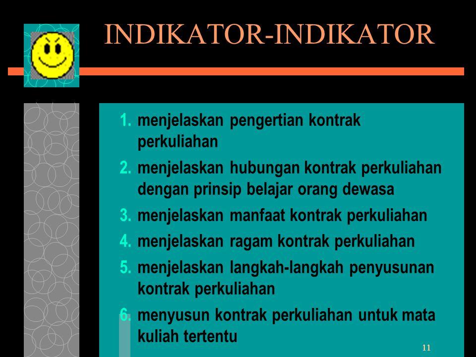 INDIKATOR-INDIKATOR menjelaskan pengertian kontrak perkuliahan