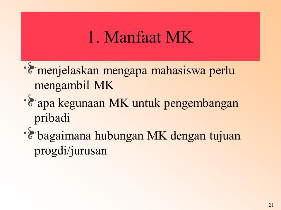 1. Manfaat MK menjelaskan mengapa mahasiswa perlu mengambil MK