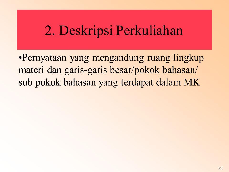 2. Deskripsi Perkuliahan