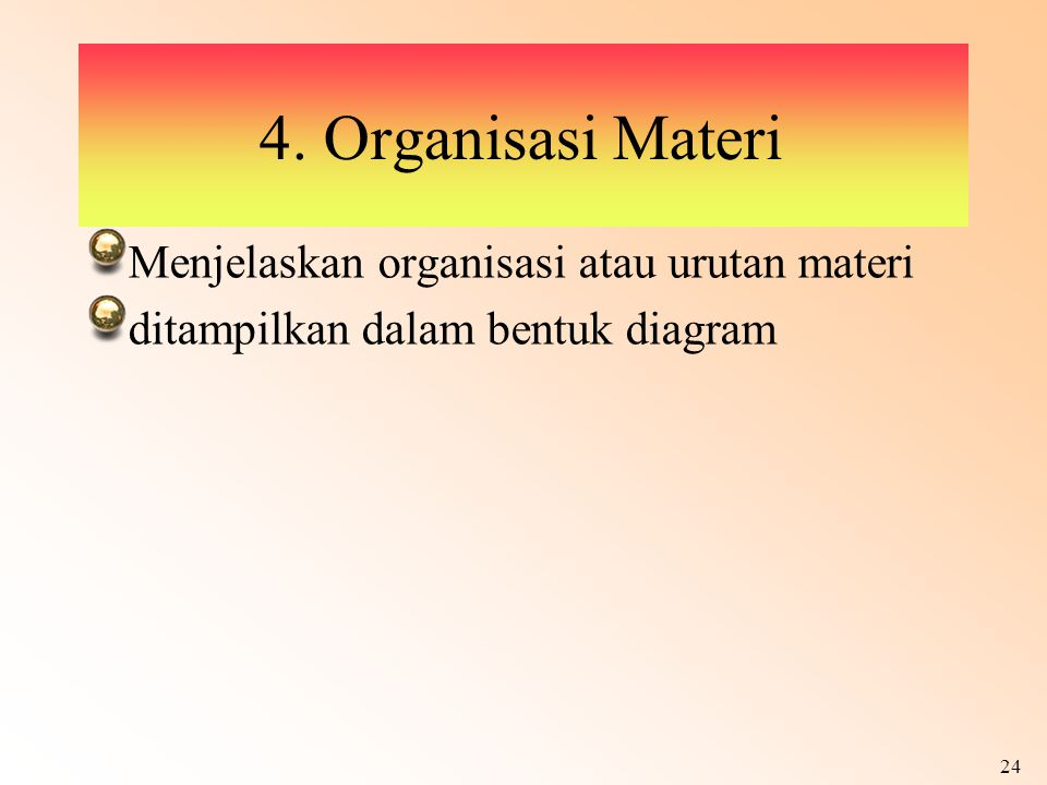 4. Organisasi Materi Menjelaskan organisasi atau urutan materi