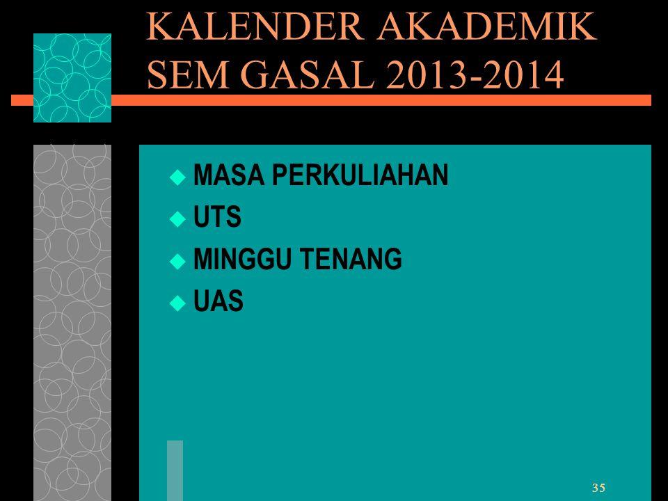 KALENDER AKADEMIK SEM GASAL 2013-2014