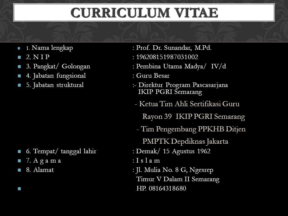 CURRICULUM VITAE - Ketua Tim Ahli Sertifikasi Guru