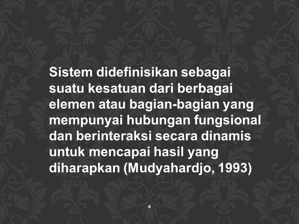 Sistem didefinisikan sebagai suatu kesatuan dari berbagai elemen atau bagian-bagian yang mempunyai hubungan fungsional dan berinteraksi secara dinamis untuk mencapai hasil yang diharapkan (Mudyahardjo, 1993)