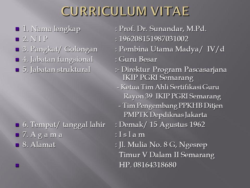 CURRICULUM VITAE 1. Nama lengkap : Prof. Dr. Sunandar, M.Pd.