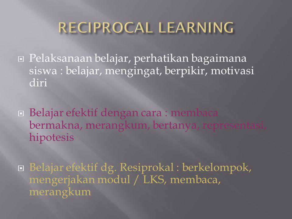RECIPROCAL LEARNING Pelaksanaan belajar, perhatikan bagaimana siswa : belajar, mengingat, berpikir, motivasi diri.