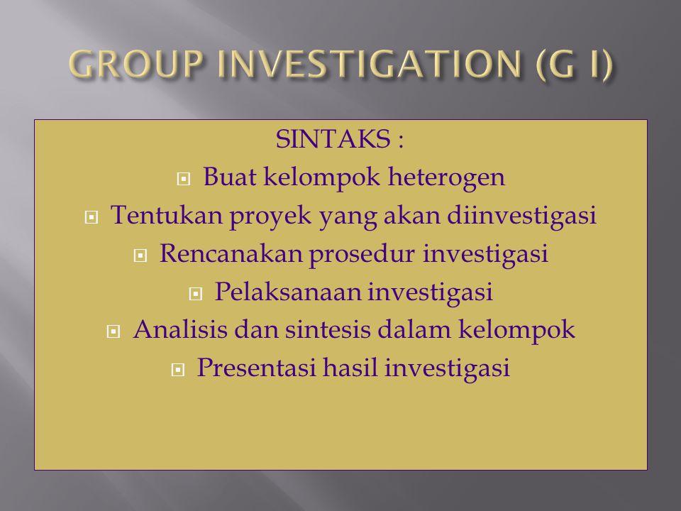 GROUP INVESTIGATION (G I)