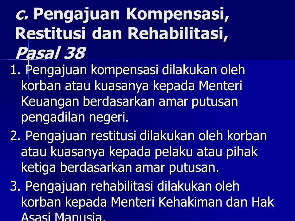 c. Pengajuan Kompensasi, Restitusi dan Rehabilitasi, Pasal 38