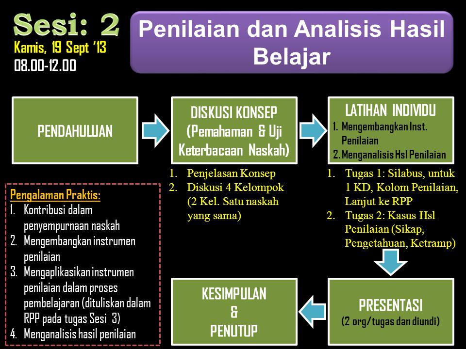 Sesi: 2 Penilaian dan Analisis Hasil Belajar Kamis, 19 Sept '13