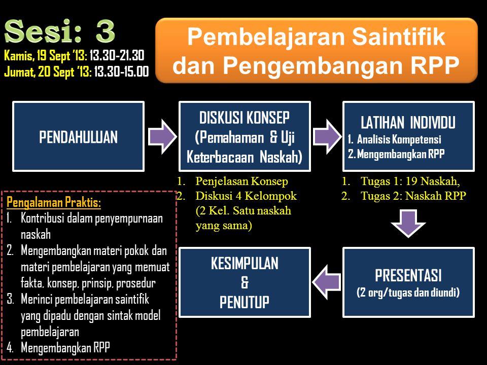 Sesi: 3 Pembelajaran Saintifik dan Pengembangan RPP PENDAHULUAN