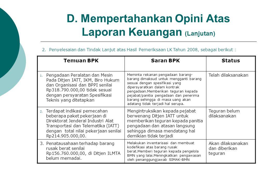 D. Mempertahankan Opini Atas Laporan Keuangan (Lanjutan)