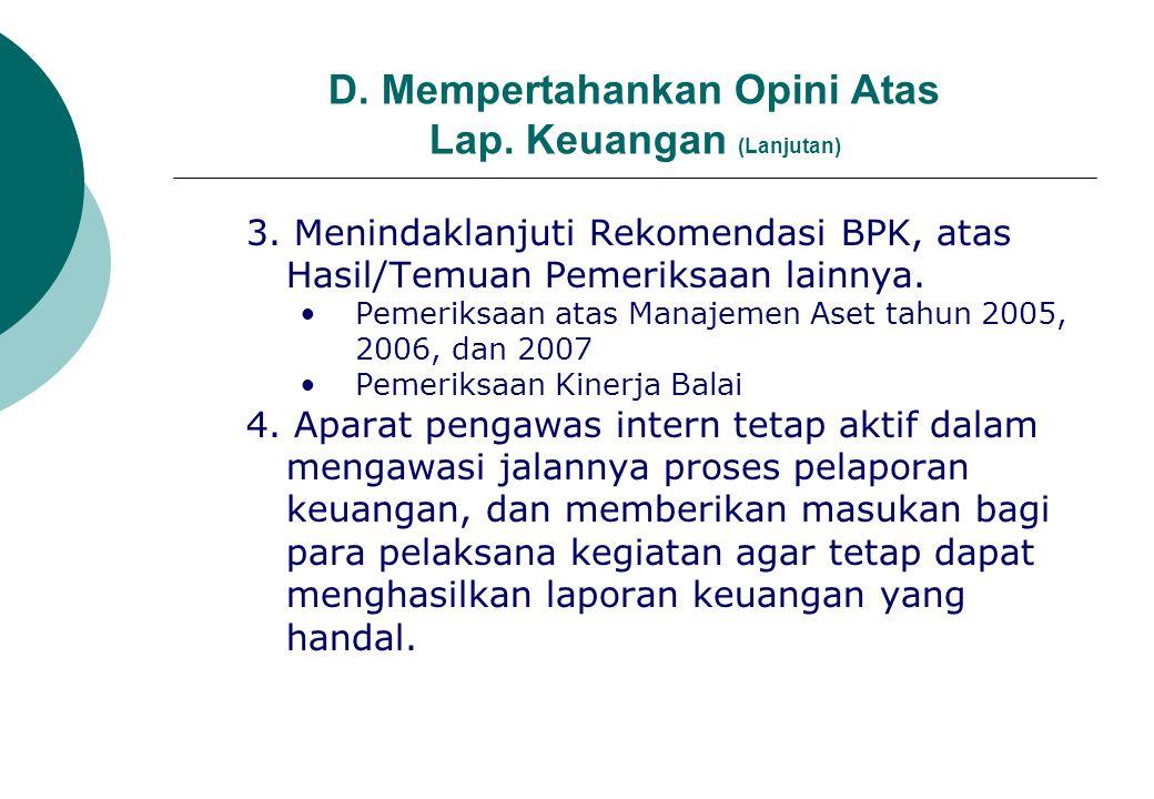 D. Mempertahankan Opini Atas Lap. Keuangan (Lanjutan)