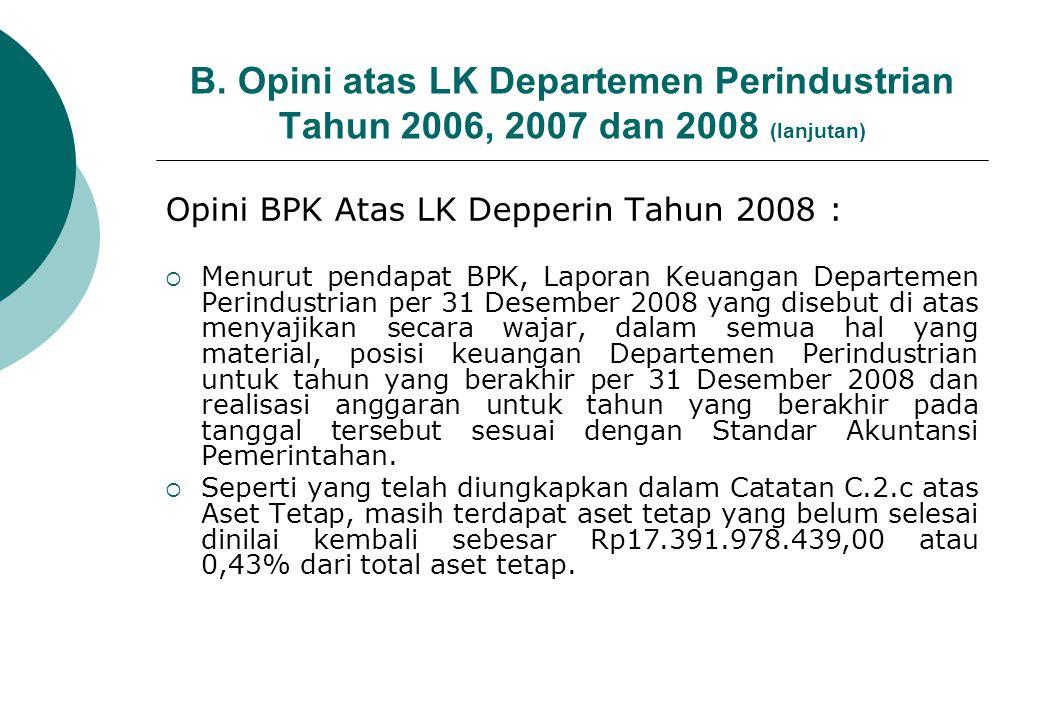 B. Opini atas LK Departemen Perindustrian Tahun 2006, 2007 dan 2008 (lanjutan)