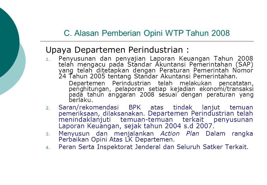 C. Alasan Pemberian Opini WTP Tahun 2008