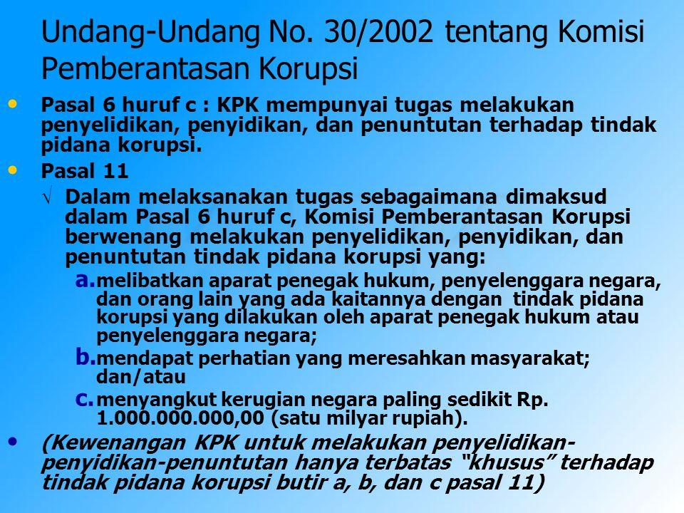 Undang-Undang No. 30/2002 tentang Komisi Pemberantasan Korupsi